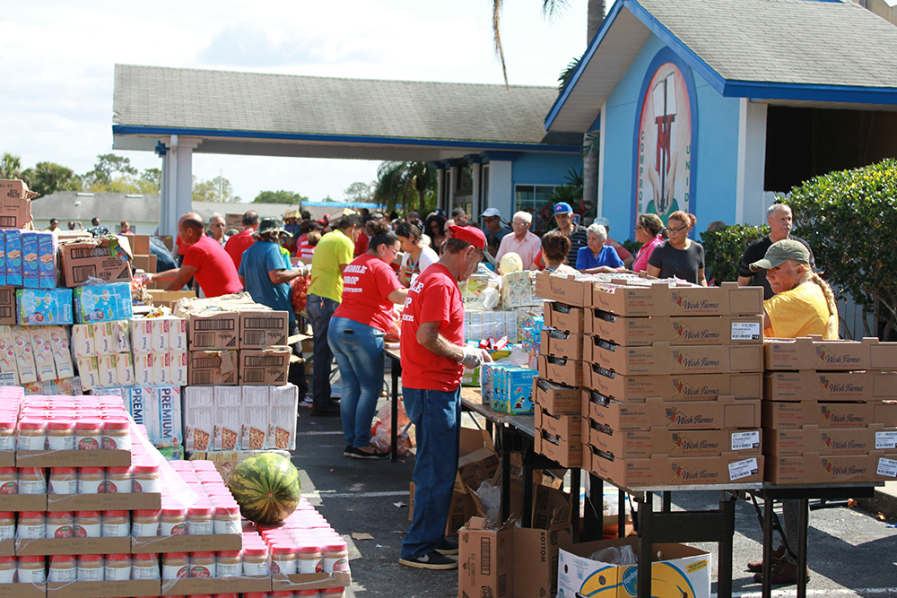 Food distribution at a local partner agency