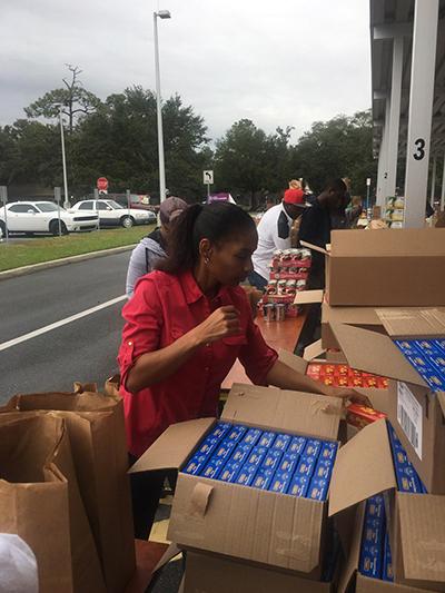 Holiday Food Drop boxing donations