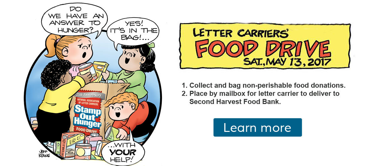 Help stamp out hunger on Saturday, May 13