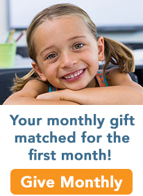 Your first monthly gift matched